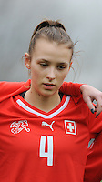 20160211 - TUBIZE , BELGIUM : Switzerland's Vera Gysin pictured during the friendly female soccer match between Women under 17 teams of  Belgium and Switzerland , in Tubize , Belgium . Thursday 11th February 2016 . PHOTO SPORTPIX.BE DIRK VUYLSTEKE