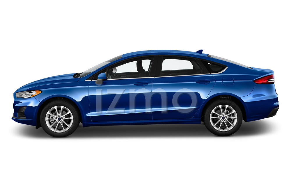 Car Driver side profile view of a 2019 Ford Fusion SE 4 Door Sedan Side View