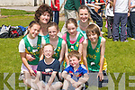 7204- 7209.RIOCHT: Young members of Riocht AC who ran in the 100 yard dash at St Brendan's Ardfert Sports Day at Ardfert GAA grounds on Monday. Front l-r: Emma Nolan and Darragh Lynch. Back l-r: Anna and Anna Marie Prendiville, Eimear Lynch, Jessica Healy, Ellen Lynch and Hugh McSweeney.