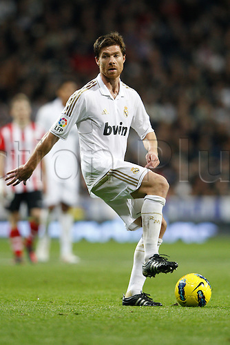 22.01.2012. Madrid Spain. La Liga  The match played between  Real Madrid and Athletic Club de Bilbao (4-1)  played at the Santiago Bernabeu Stadium.  Picture show Xabier Alonso (Spanish midfielder of Real Madrid)