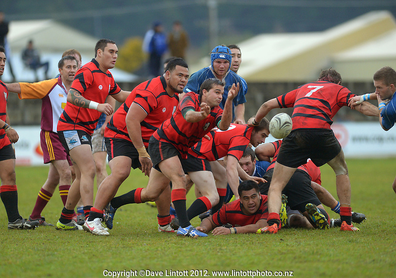 Action from the King Country club rugby match between Waitete and Kiokio United at Waitete Rugby Club, Te Kuiti,  New Zealand on Saturday, 23 June 2012. Photo: Dave Lintott / lintottphoto.co.nz