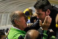 BARUERI, SP, 01 DE JULHO DE 2012 - CAMPEONATO BRASILEIRO - PALMEIRAS x FIGUEIRENSE: Luis Felipe Scolari (e) e Argel (d) durante partida Palmeiras x FIGUEIRENSE, válida pela 7ª rodada do Campeonato Brasileiro na Arena Barueri. FOTO: LEVI BIANCO - BRAZIL PHOTO PRESS.