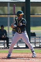 Oakland Athletics first baseman Alonzo Medina (12) during a Minor League Spring Training game against the Chicago Cubs at Sloan Park on March 19, 2018 in Mesa, Arizona. (Zachary Lucy/Four Seam Images)