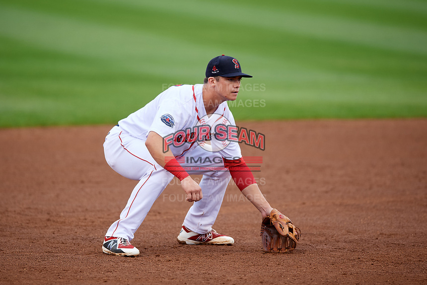 Salem Red Sox third baseman Bobby Dalbec (29) during the first game of a doubleheader against the Potomac Nationals on June 11, 2018 at Haley Toyota Field in Salem, Virginia.  Potomac defeated Salem 9-4.  (Mike Janes/Four Seam Images)