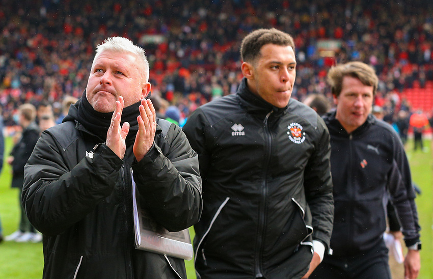 Blackpool's manager Terry McPhillips applauds the fans after the match<br /> <br /> Photographer Alex Dodd/CameraSport<br /> <br /> The EFL Sky Bet League One - Barnsley v Blackpool - Saturday 27th April 2019 - Oakwell - Barnsley<br /> <br /> World Copyright © 2019 CameraSport. All rights reserved. 43 Linden Ave. Countesthorpe. Leicester. England. LE8 5PG - Tel: +44 (0) 116 277 4147 - admin@camerasport.com - www.camerasport.com