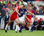 Ched Evans of Sheffield Utd tussles with Dael Fry of Middlesbrough during the Championship match at the Riverside Stadium, Middlesbrough. Picture date: August 12th 2017. Picture credit should read: Simon Bellis/Sportimage