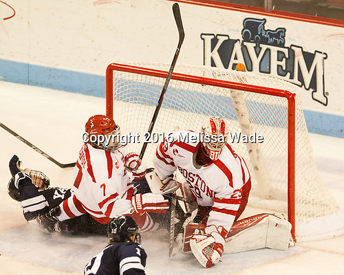 ?, Charlie McAvoy (BU - 7), Jake Oettinger (BU - 29) The Boston University Terriers defeated the visiting Yale University Bulldogs 5-2 on Tuesday, December 13, 2016, at the Agganis Arena in Boston, Massachusetts.
