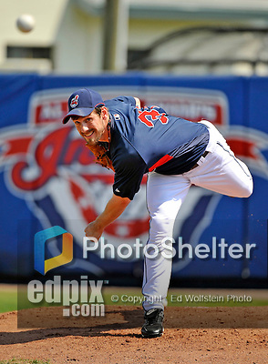 11 March 2008: Cleveland Indians' pitcher Cliff Lee warms up in the bullpen prior to starting in a Spring Training game against the Detroit Tigers at Chain of Lakes Park, in Winter Haven Florida. The Tigers rallied to defeat the Indians 4-2 in the Grapefruit League matchup...Mandatory Photo Credit: Ed Wolfstein Photo