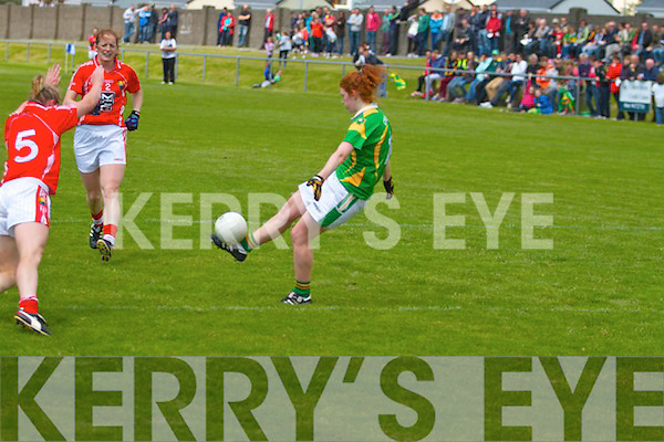 Kerrys Lousie Ní Mhuircteartaigh with space launches this one over the bar in Cahersiveen on Sunday last in their clash with Cork.