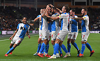 Blackburn Rovers' Derrick Williams is congratulated on scoring his team's opening goal<br /> <br /> Photographer Dave Howarth/CameraSport<br /> <br /> The Premier League - Hull City v Blackburn Rovers - Tuesday August 20th 2019  - KCOM Stadium - Hull<br /> <br /> World Copyright © 2019 CameraSport. All rights reserved. 43 Linden Ave. Countesthorpe. Leicester. England. LE8 5PG - Tel: +44 (0) 116 277 4147 - admin@camerasport.com - www.camerasport.com