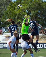 Sanford, FL - Saturday Oct. 14, 2017:  The Pride goalkeeper punches the ball away during a US Soccer Girls' Development Academy match between Orlando Pride and NC Courage at Seminole Soccer Complex. The Courage defeated the Pride 3-1.