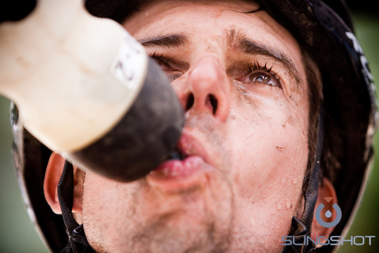 Refreshed during stage three of the 2010 Absa Cape Epic Mountain Bike stage race from Ceres to Ceres in the Western Cape, South Africa on the 23 March 2010.Photo by Karin Schermbrucker/SPORTZPICS