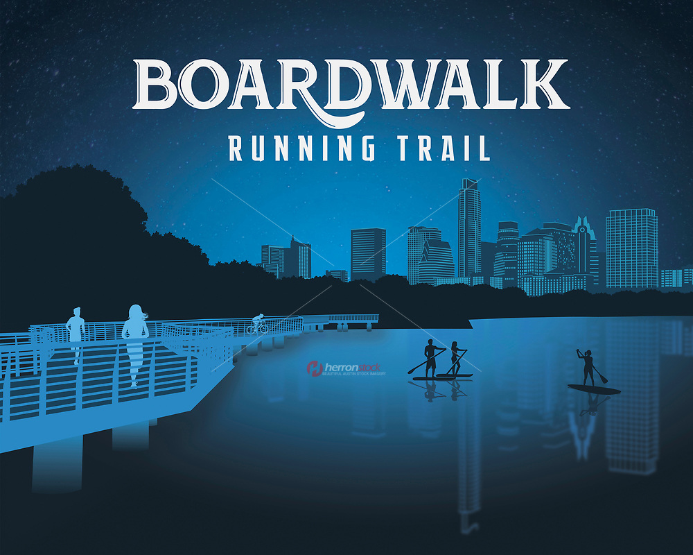 Boardwalk Trail On Lady Bird Lake silhouette fine art print in blue. Boardwalk Trail is a 1.4-mile segment of the hike-and-bike trail along Central Austin's Lady Bird Lake.