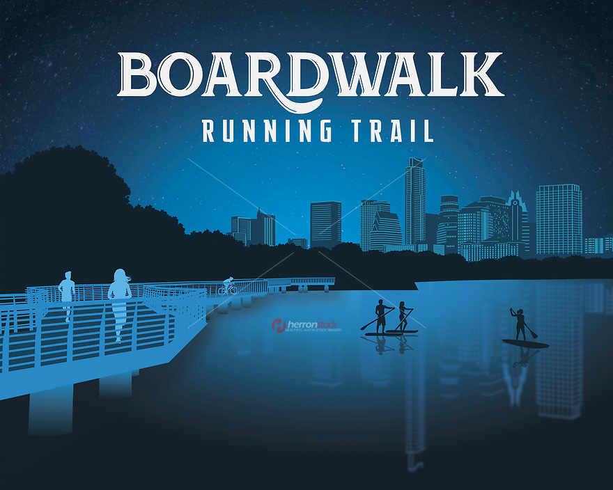 Boardwalk Trail On Lady Bird Lake silhouette fine art print in blue. Boardwalk Trail is a 1.4-mile segment of the hike-and-bike trail along Central Austin's Lady Bird Lake.