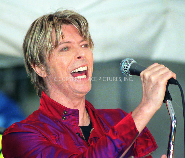 """David Bowie performs on NBC's """"Today Show"""" as part of Summer Concert Series. New York, June 14, 2002. Please byline: Alecsey Boldeskul/NY Photo Press.   ..*PAY-PER-USE*      ....NY Photo Press:  ..phone (646) 267-6913;   ..e-mail: info@nyphotopress.com"""