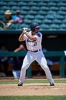 Jacksonville Jumbo Shrimp pinch hitter Cody Poteet (21) at bat during a Southern League game against the Tennessee Smokies on April 29, 2019 at Baseball Grounds of Jacksonville in Jacksonville, Florida.  Tennessee defeated Jacksonville 4-1.  (Mike Janes/Four Seam Images)