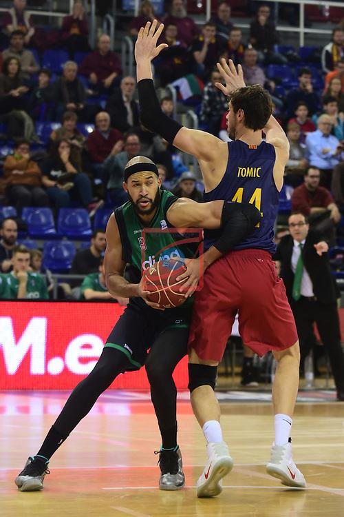 League ACB-ENDESA 2016/2017 - Game: 13.<br /> FC Barcelona Lassa vs Divina seguros Joventut: 79-77.<br /> Jerome Jordan vs Ante Tomic.