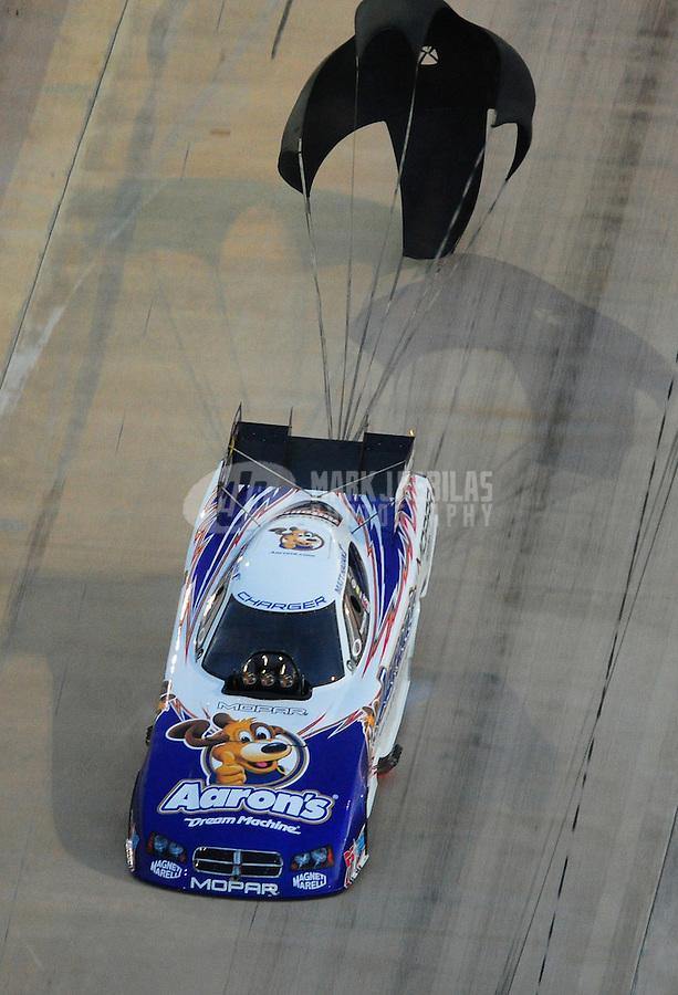 Jan. 21, 2012; Jupiter, FL, USA: Aerial view of NHRA funny car driver Matt Hagan during testing at the PRO Winter Warmup at Palm Beach International Raceway. Mandatory Credit: Mark J. Rebilas-