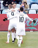 Real Madrid's Karim Benzema, Cristiano Ronaldo and James Rodriguez celebrate goal during La Liga match.January 18,2013. (ALTERPHOTOS/Acero) /NortePhoto<br /> NortePhoto.com