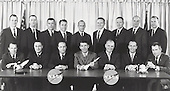 Original 7 Astronauts pose for a group photo with the second group of astronauts in Washington, D.C. on March 1, 1963.  Front row seated are the original 7 astronauts, left to right: L. Gordon Cooper, Jr., Virgil I. Grissom, M. Scott Carpenter, Walter M. Schirra, Jr., John H. Glenn, Jr., Alan B. Shepard, Jr., and Donald K. Slayton all selected in 1959.  The back row standing are the second group of astronauts, left to right: Edward H. White, II, James A. McDivitt, John W. Young, Elliott M. See, Jr., Charles Conrad, Jr., Frank Borman, Neil A. Armstrong, Thomas P. Stafford, and James A. Lovell, Jr., all selected in September, 1962..Credit: NASA via CNP