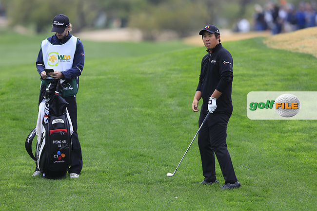 Byeong Hun An (KOR) on the 3rd during the final round of the Waste Management Phoenix Open, TPC Scottsdale, Scottsdale, Arisona, USA. 03/02/2019.<br /> Picture Fran Caffrey / Golffile.ie<br /> <br /> All photo usage must carry mandatory copyright credit (&copy; Golffile | Fran Caffrey)