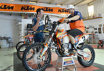 BAJA CALIFORNIA, MEXICO - NOVEMBER 14:  Kurt Casselli of the FMF/Bonanza Plumbing KTM team is shown his tracking device by mechanic 2013 in the KTM Shop on November 14, 2013 in Baja California, Mexico. (Photo by Donald Miralle for ESPN the Magazine) *** Local Caption ***Kurt Casselli