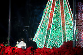 United States President Donald J. Trump and first lady Melania Trump walk out of the podium after to participate in the 2018 National Christmas Tree Lighting Ceremony at the Ellipse near the White House on November 28, 2018 in Washington, DC. <br /> Credit: Oliver Contreras / Pool via CNP