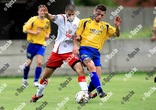 2010-08-21 / Voetbal / seizoen 2009-2010 / SCMerksem - Willebroek-Meerhof / Aahde Choual (L, Willebroek-Meerhof) met Mersad Karahmet..Foto: Mpics