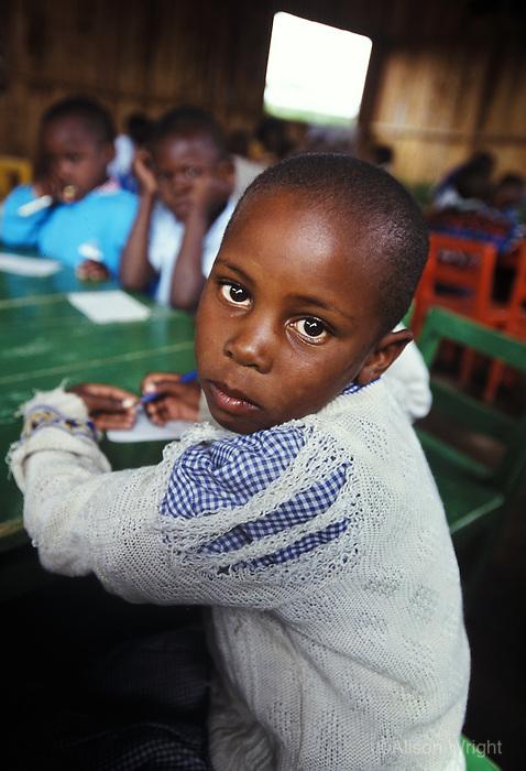 FOH 13. Nakuru, Rhonda Slum. Learning & Development Program, Maimlina Chepkemoi (7 yrs), girl, in class, 2002