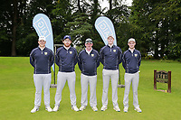 Warrenpoint Team Colm Campbell, Ryan Gribben Colm Campbell Team Manager, Paul Reavey and Stevie Colter during the final of the AIG Barton Shield Ulster Final Golf Club, Belfast, Northern Ireland. 27/08/2017<br />