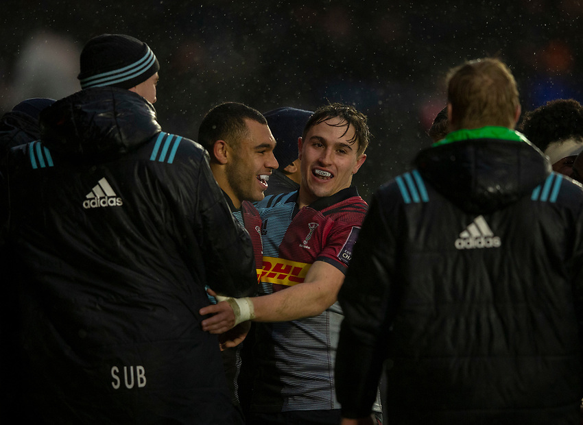 Harlequins' Joe Marchant celebrates scoring his sides second try with Cadan Murley<br /> <br /> Photographer Bob Bradford/CameraSport<br /> <br /> European Rugby Challenge Cup Pool 5 - Harlequins v Benetton Treviso - Saturday 15th December 2018 - Twickenham Stoop - London<br /> <br /> World Copyright © 2018 CameraSport. All rights reserved. 43 Linden Ave. Countesthorpe. Leicester. England. LE8 5PG - Tel: +44 (0) 116 277 4147 - admin@camerasport.com - www.camerasport.com