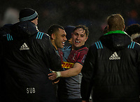 Harlequins' Joe Marchant celebrates scoring his sides second try with Cadan Murley<br /> <br /> Photographer Bob Bradford/CameraSport<br /> <br /> European Rugby Challenge Cup Pool 5 - Harlequins v Benetton Treviso - Saturday 15th December 2018 - Twickenham Stoop - London<br /> <br /> World Copyright &copy; 2018 CameraSport. All rights reserved. 43 Linden Ave. Countesthorpe. Leicester. England. LE8 5PG - Tel: +44 (0) 116 277 4147 - admin@camerasport.com - www.camerasport.com