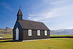 Budir Church and Helgrindur Mountains on the Coast in West Iceland