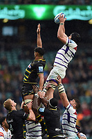 Harry Wells of Leicester Tigers wins the ball at a lineout. Gallagher Premiership match, between Northampton Saints and Leicester Tigers on October 6, 2018 at Twickenham Stadium in London, England. Photo by: Patrick Khachfe / JMP