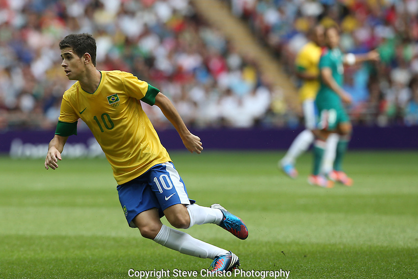 Brazil's Oscar dos Santos Emboaba Junior  in action during the gold medal match against Mexico at Wembley Stadium, London, UK. Saturday 11th August 2012. (Photo: Steve Christo)