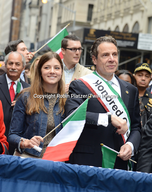 Governor Andrew Cuomo and daughter Michaela Cuomo march in the 70th Annual Columbus Day Parade on October 13, 2014 on Fifth Avenue in New York City.<br /> <br /> photo by Robin Platzer/Twin Images<br />  <br /> phone number 212-935-0770