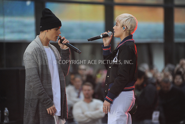 WWW.ACEPIXS.COM<br /> November 18, 2015 New York City<br /> <br /> Justin Bieber and Halsey performing in concert on NBC TODAY at Rockefeller Plaza on November 12, 2015 in New York City.<br /> <br /> Credit: Kristin Callahan/ACE<br /> <br /> Tel: (646) 769 0430<br /> e-mail: info@acepixs.com<br /> web: http://www.acepixs.com
