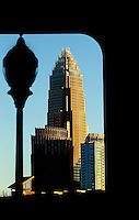 The Charlotte NC skyline. Photographer has extensive collection of Charlotte skyline images.