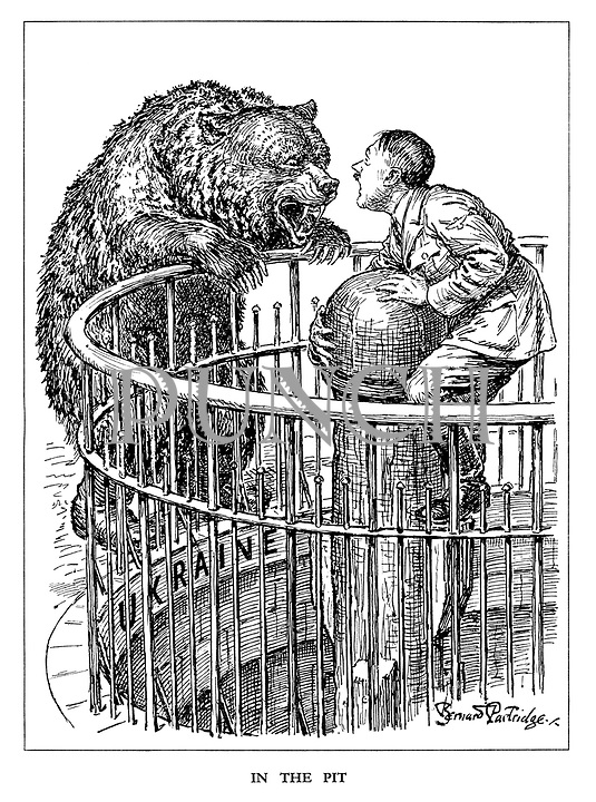 In the Pit. (a terrified Hitler swaps places with the Russian Bear as he is now baited by the bear in Ukraine)
