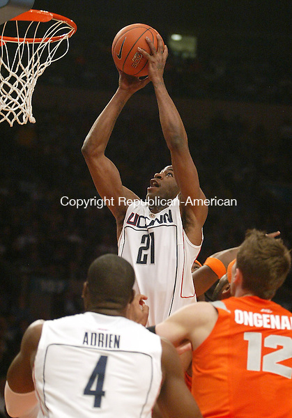 NEW YORK, NY--12 MARCH 2009-031209JS05-- UConn's Stanley Robinson puts up a shot during their Big East tournament game against Syracuse Thursday at Madison Square Garden in New York City.<br /> Jim Shannon Republican-American