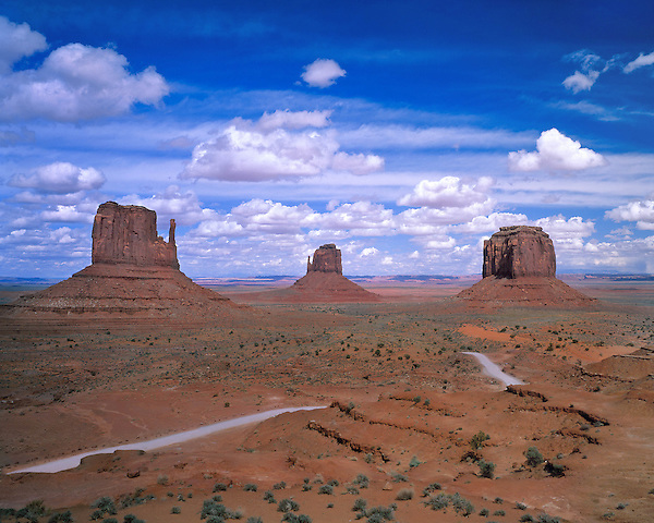 The Mittens rock formation in entrance to Monument Valley, Arizona, USA. . John offers private photo tours in Monument Valley and throughout Arizona, Utah and Colorado. Year-round.