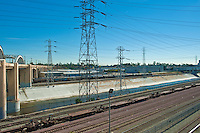 Sixth Street, Concrete Span, Bridge, Railroad Yard, Tracks, Electric, Transmission, Towers, Los Angeles, River