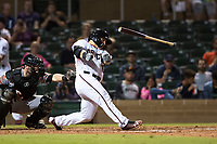 Salt River Rafters catcher Daulton Varsho (8), of the Arizona Diamondbacks organization, loses his bat on a swing in front of catcher Matt Winn (16) during an Arizona Fall League game against the Scottsdale Scorpions at Salt River Fields at Talking Stick on October 11, 2018 in Scottsdale, Arizona. Salt River defeated Scottsdale 7-6. (Zachary Lucy/Four Seam Images)