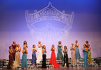 12 July, 2008:    All sixteen 2008 Miss Washington contestants stand together on stage during the 2008 Miss Washington pageant at the Pantages Theater in Tacoma , Washington.