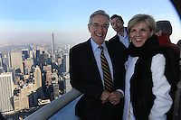 New York, January 23, 2015. Australian Foreign Minister Julie Bishop attends ceremonial lighting of the Empire State Building in Green and Gold, with actor  Hugh Jackman. photo by Trevor Collens.