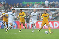 Preston North End's Ben Pearson under pressure from Swansea City's Matt Grimes<br /> <br /> Photographer Kevin Barnes/CameraSport<br /> <br /> The EFL Sky Bet Championship - Swansea City v Preston North End - Saturday August 11th 2018 - Liberty Stadium - Swansea<br /> <br /> World Copyright &copy; 2018 CameraSport. All rights reserved. 43 Linden Ave. Countesthorpe. Leicester. England. LE8 5PG - Tel: +44 (0) 116 277 4147 - admin@camerasport.com - www.camerasport.com