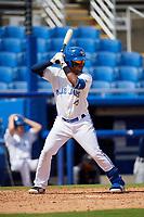 Dunedin Blue Jays left fielder Rodrigo Orozco (3) at bat during a game against the Lakeland Flying Tigers on May 27, 2018 at Dunedin Stadium in Dunedin, Florida.  Lakeland defeated Dunedin 2-1.  (Mike Janes/Four Seam Images)