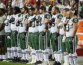 New York Jets players stand as the National Anthem is sung prior to the game against the Washington Redskins at FedEx Field in Landover, Maryland on Thursday, August 16, 2018.<br /> Credit: Ron Sachs / CNP<br /> (RESTRICTION: NO New York or New Jersey Newspapers or newspapers within a 75 mile radius of New York City)
