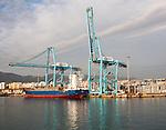 Large cranes at APM Terminals loading container ships port at Algeciras, Cadiz Province, Spain
