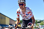 Polka Dot Jersey Warren Barguil (FRA) Team Sunweb at sign on before Stage 15 of the 104th edition of the Tour de France 2017, running 189.5km from Laissac-Severac l'Eglise to Le Puy-en-Velay, France. 16th July 2017.<br /> Picture: ASO/Pauline Ballet | Cyclefile<br /> <br /> <br /> All photos usage must carry mandatory copyright credit (&copy; Cyclefile | ASO/Pauline Ballet)